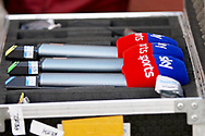 Sky Sports microphones before the EFL Sky Bet League 1 play off second leg match between Rotherham United and Scunthorpe United at the AESSEAL New York Stadium, Rotherham, England on 16 May 2018. Picture by Nigel Cole.
