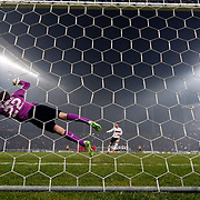 Besiktas's scores during the UEFA Europa League Round of 32 second leg soccer match Besiktas between Liverpool at Ataturk Olimpiyat stadium in Istanbul Turkey on Thursday February 26, 2015. Photo by Aykut AKICI/TURKPIX