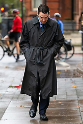 """Daren Timson-Hunt, a barrister thought to be the first person to be prosecuted for """"up skirting"""" arrives at Westminster Magistrates court in London where he is due to be sentenced after admitting """"admitted operating equipment beneath her clothing without consent"""" after filming a woman on the tube. London, September 26 2019."""