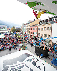 19.09.2015, Hauptplatz,Lienz, AUT, Free Solo Masters, Semifinale, im Bild Simon Wolsegger (AUT, OeAV Matrei in Osttirol) // during Semifinal of the Free Solo Masters at the Hauptplatz in Lienz, Austria on 2015/09/19. EXPA Pictures © 2015, PhotoCredit: EXPA/ Johann Groder