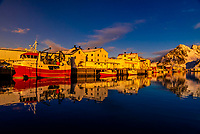 Fishing village of Henningsvaer, near Svolvaer, Lofoten Islands, Arctic, Northern Norway.