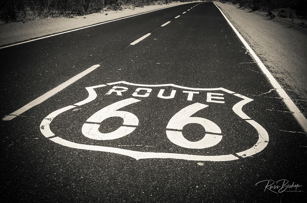 Highway marker on historic Route 66, Seligman, Arizona USA
