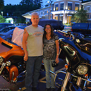 Road Warriors Riding A Harley Davidson Relaxing For The Evening
