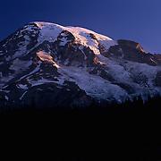 Top of huge Mt. Rainier in Mt. Rainier National Park, WA.