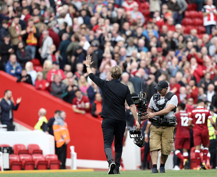 Liverpool manager Jurgen Klopp acknowledges the Anfield crowd as he leaves the pitch at the final whistle<br /> <br /> Photographer Rich Linley/CameraSport<br /> <br /> The Premier League - Liverpool v Manchester United - Saturday 14th October 2017 - Anfield - Liverpool<br /> <br /> World Copyright © 2017 CameraSport. All rights reserved. 43 Linden Ave. Countesthorpe. Leicester. England. LE8 5PG - Tel: +44 (0) 116 277 4147 - admin@camerasport.com - www.camerasport.com