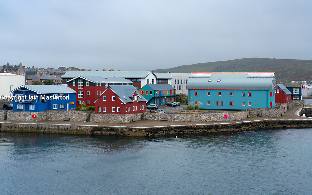Modern industrial and commercial buildings with Scandinavian influence on harbour in Lerwick, Shetland , Scotland, UK