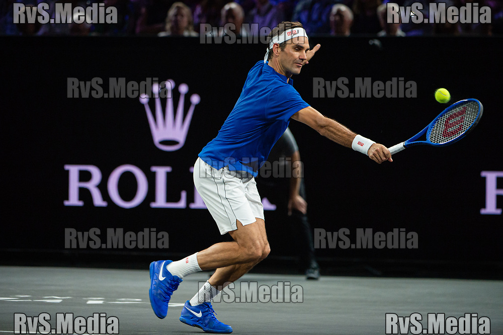 GENEVA, SWITZERLAND - SEPTEMBER 22: Roger Federer of Team Europe plays a backhand during Day 3 of the Laver Cup 2019 at Palexpo on September 20, 2019 in Geneva, Switzerland. The Laver Cup will see six players from the rest of the World competing against their counterparts from Europe. Team World is captained by John McEnroe and Team Europe is captained by Bjorn Borg. The tournament runs from September 20-22. (Photo by Robert Hradil/RvS.Media)