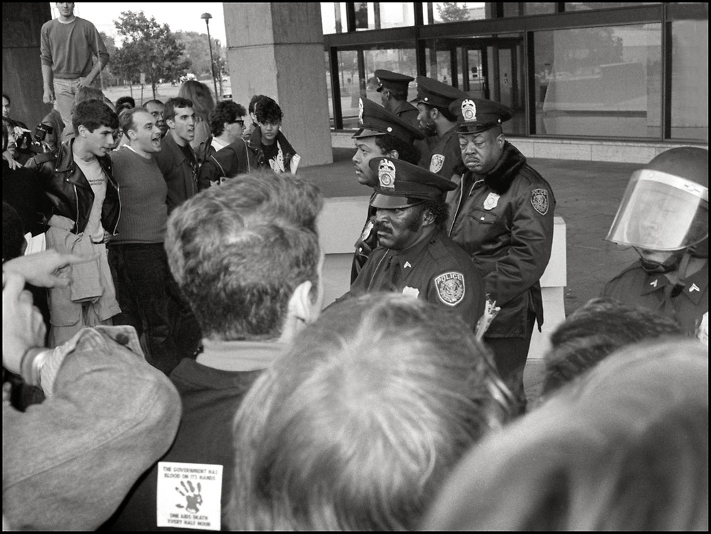 ACT UP NY participates in an action at The US Department of Health & Human Services in Washington DC on October 10, 1988, the day before the FDA action.