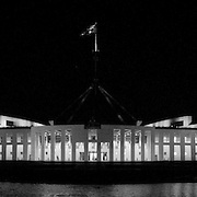 Australian Parliament House at night. NB: contains some film grain