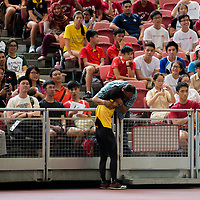 Fatimah Zahra Bte Mohd Rafique (#186) of Victoria Junior College celebrates after winning first in the A Division girls' high jump final with 1.56m. (Photo © Eileen Chew/Red Sports)