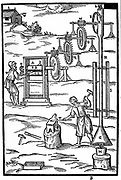 Rolling mill and forge powered by hot gases from furnace M. Idea proposed by Giovanni Branca in 'Le Machine' Rome 1629. Woodcut.