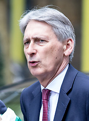 © Licensed to London News Pictures. 19/04/2017. London, UK. Chancellor of the Exchequer Philip Hammond arriving in Downing Street. Yesterday, Theresa May called a snap General Election, to take place on 8 June 2017. Photo credit : Tom Nicholson/LNP