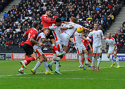Bristol City's Derrick Williams heads towards goal  - Photo mandatory by-line: Joe Meredith/JMP - Mobile: 07966 386802 - 07/02/2015 - SPORT - Football - Milton Keynes - Stadium MK - MK Dons v Bristol City - Sky Bet League One