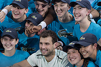 Tennis - 2017 Nitto ATP Finals at The O2 - Day Eight<br /> <br /> Final : Grigor Dimitrov (Bulgaria) Vs David Goffin (Belguim) <br /> <br /> Grigor Dimitrov (Bulgaria) poses with the team of ballboys and girls at the O2 Arena <br /> <br /> COLORSPORT/DANIEL BEARHAM