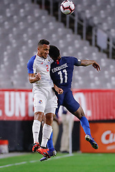 January 27, 2019 - Glendale, AZ, U.S. - GLENDALE, AZ - JANUARY 27:  Panama defender Francisco Palacios (2) and United States forward Jeremy Ebobisse (11) bang heads as they go up for a header during the international friendly soccer game between Panama and the United States on January 27, 2019 at State Farm Stadium in Glendale, Arizona. (Photo by Kevin Abele/Icon Sportswire) (Credit Image: © Kevin Abele/Icon SMI via ZUMA Press)