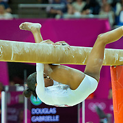 Gabrielle Douglas of the United States fell off the balance beam during the beam apparatus finals at North Greenwich Arena during the 2012 Summer Olympic Games in London, England, Tuesday, August 7, 2012. Douglas finished in seventh place. (David Eulitt/Kansas City Star/MCT)