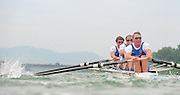 Vienna AUSTRIA. GBR M4-, Bow James CRACKNELL, 2. Steve REDGRAVE, 3. Tim FOSTER and Stroke Matt PINSENT. Start of their heat, 2000 FISA World Cup. 2nd Round. Vienna Neue Donau Rowing Course  [Mandatory Credit. Peter Spurrier/Intersport Images]