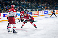 KAMLOOPS, CANADA - NOVEMBER 5:  Riley Sutter #14 of Team WHL faces off against Artyom Galimov #9 of Team Russia on November 5, 2018 at Sandman Centre in Kamloops, British Columbia, Canada.  (Photo by Marissa Baecker/Shoot the Breeze)