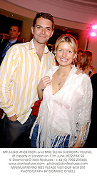MR JAGO ANDERSON and MISS ELENA SHERIDAN-YOUNG, at a party in London on 11th June 2002.PAX 94