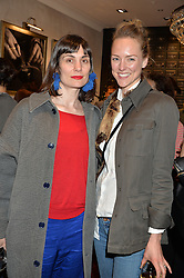 Left to right, MARIA KASTANI and MADELEINE MACEY at a party to launch the Gaziano & Girling Ladies Collection held at Gaziano & Girling, 39 Savile Row, London on 5th April 2016.