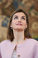 021716 Queen Letizia attends several audiences at Zarzuela Palace