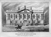 COLLEGE OF SURGEONS, Stephen's green, the Front Elevation From the guide book ' The new picture of Dublin : or Stranger's guide through the Irish metropolis, containing a description of every public and private building worthy of notice ' by Hardy, Philip Dixon, 1794-1875. Published in Dublin in 1831 by W. Curry.