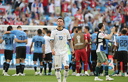 SAMARA, June 25, 2018  Fedor Smolov (front) of Russia reacts after the 2018 FIFA World Cup Group A match between Uruguay and Russia in Samara, Russia, June 25, 2018. Uruguay won 3-0. Russia and Uruguay advanced to the round of 16. (Credit Image: © Bai Xueqi/Xinhua via ZUMA Wire)