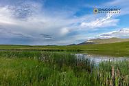 Upper Carter Pond with Judith Mountains near Lewistown, Montana, USA