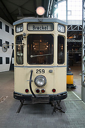 Tram exhibit at Deutsche Arbeitsschutzausstellung DASA or German Museum of Occupational Health and Safety in Dortmund Germany