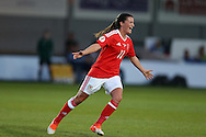 Helen Lander of Wales celebrates after she scores her teams 1st goal. UEFA Womens Euro qualifying match, Wales Women v Israel Women at Rodney Parade in Newport, South Wales on Thursday 15th September 2016.<br /> pic by Andrew Orchard, Andrew Orchard sports photography.