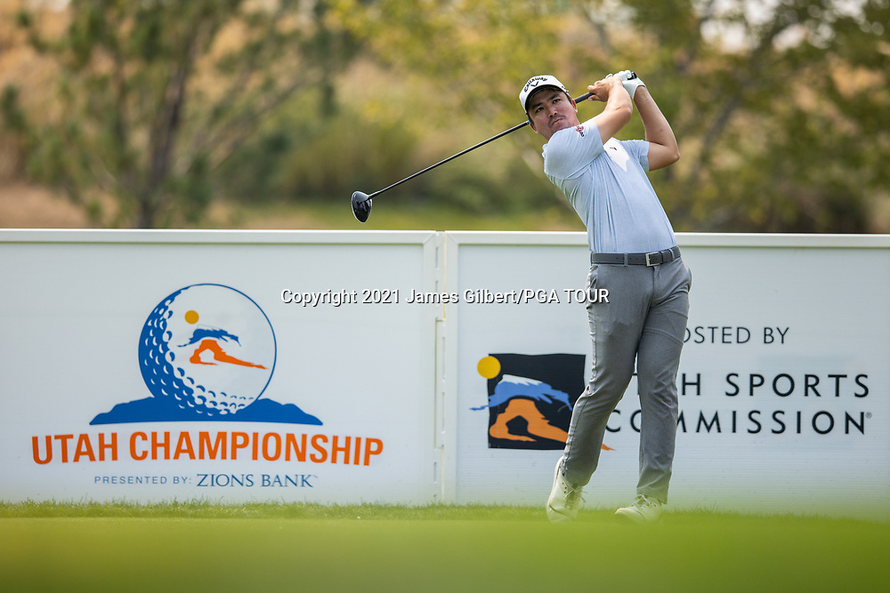 FARMINGTON, UT - AUGUST 08: Bryon Meth plays his shot from the 8th tee during the final round of the Utah Championship presented by Zions Bank at Oakridge Country Club on August 8, 2021 in Farmington, Utah. (Photo by James Gilbert/PGA TOUR via Getty Images)
