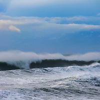 Pacific Ocean surf breaks on the California shore near Fort Bragg.