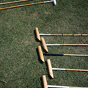 'A Day at the Polo'<br /> Polo Mallet's in formation on the grass during during the International Polo Test match between Australia and England at the Windsor Polo Club, Richmond, Sydney, Australia on March 29, 2009. Australia won the match 8-7.  Photo Tim Clayton