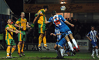 Photo: Ashley Pickering/Sportsbeat Images.<br /> Colchester United v Norwich City. Coca Cola Championship. 15/12/2007.<br /> Darel Russell of Norwich (C yellow) comes close to scoring with this header