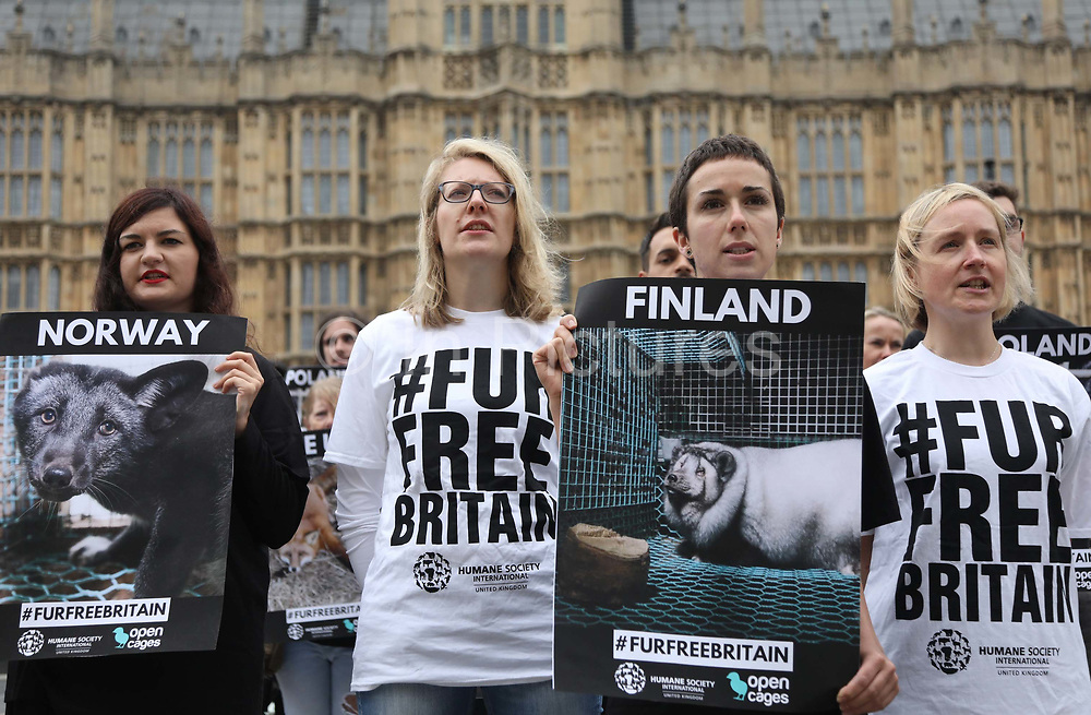 Pro fur ban campaigners outside Parliament June 4th 2018, Central London, United Kingdom. In connection with a debate on banning fur import to Britain in Parliament Open Cage and Humane Society International held a demonstration outside Parliament to draw attention to the continued use of fur in Britain inspite of fur production is banned in Britain. The campaigners want all sale of fur banned.