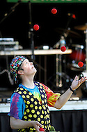 A juggler entertains the crowd between acts at the Fiesta Stage at the Contra Costa County Fair in Antioch on Sunday, June 3, 2012.  (Photo by Kevin Bartram)