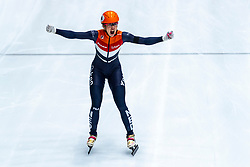 13-01-2019 NED: ISU European Short Track Championships 2019 day 3, Dordrecht<br /> Suzanne Schulting of Netherlands reacts after finishing first in the Ladies 3000m relay final during the ISU European Short Track Speed Skating Championships