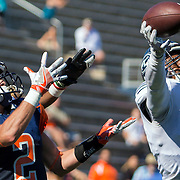Fullerton College defensive back Deshon Taylor deflects a pass in the first half of his teams 35-14 victory over Orange Coast College on November 5, 2016.