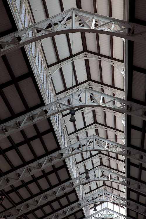Steel girders of the Central Market in Valencia, Spain. This architectural gem was built in 1928 and is a Unesco World Herritage site.