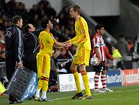 Photo: RIchard Lane.<br />PSV Eindhoven v Liverpool. UEFA Champions League, Quarter Final, 1st Leg. 03/04/2007. Liverpool's Jermaine Pennant replaces Peter Crouch.