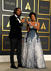 Matthew A. Cherry and Karen Rupert Toliver with their Best Animated Short Film for Hair Love in the press room at the 92nd Academy Awards held at the Dolby Theatre in Hollywood, Los Angeles, USA.