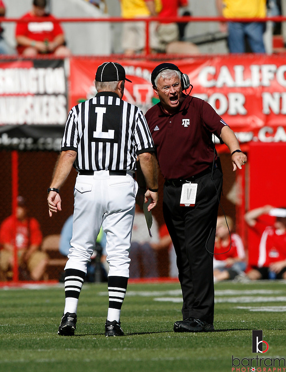 Texas A&M coach Dennis Franchione argues a call during his team's game against the University of Nebraska on Saturday, Oct. 20, 2007 in Lincoln, Nebraska. Texas A&M won the game 36-14.