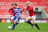 Reading midfielder Rachel Rowe (23 plays a pass during the FA Women's Super League match between Manchester United Women and Reading LFC at Leigh Sports Village, Leigh, United Kingdom on 7 February 2021.