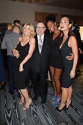 Left to right, MICHELLE COLLINS, JONATHAN SHALIT, singer and TV presenter JAMELIA and MYLEENE KLASS at a party to celebrate the 21st anniversary of The Roar Group hosted by Jonathan Shalit held at Avenue, 9 St.James's Street, London on 21st September 2015.