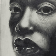 """Title: Bought and Souled<br /> Artist: Jacob Sheafe<br /> Date: 2001<br /> Medium: Graphite<br /> Dimensions: 18 x 21""""<br /> Instructor: David Wahlgren<br /> Status: On Display<br /> Location: Eastview Campus, Building 8000, Rm 8356, Health Sciences Division"""