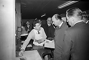 Opening of Kilkenny Design Workshop. Cyril O'Mahony, Egan's of Cork, explaining the work of the Silversmith to Dr. P.J. Hillery, Minister for Industry and Commerce and W.H. Walshe, chairman..15.11.1965