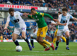 Lukas Nmecha of Preston North End (C) has a shot blocked by Charlie Mulgrew of Blackburn Rovers - Mandatory by-line: Jack Phillips/JMP - 09/03/2019 - FOOTBALL - Ewood Park - Blackburn, England - Blackburn Rovers v Preston North End - English Football League Championship