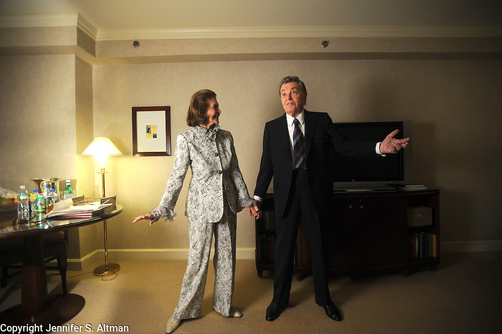 Tony Martin, age 94, and his wife dancer Cyd Charisse are seen in the Regency Hotel in Manhattan, NY. Martin is performing a show at Feinstein's. Charisse is considered one of Hollywood's greatest dancers. 1/31/2008 Photo by Jennifer S. Altman/For The NY Times