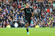 Salomon Rondon of West Bromwich Albion celebrates after scoring his teams 1st goal to make it 1-1. Premier League match, Burnley v West Bromwich Albion at Turf Moor in Burnley , Lancs on Saturday 6th May 2017.<br /> pic by Chris Stading, Andrew Orchard sports photography.