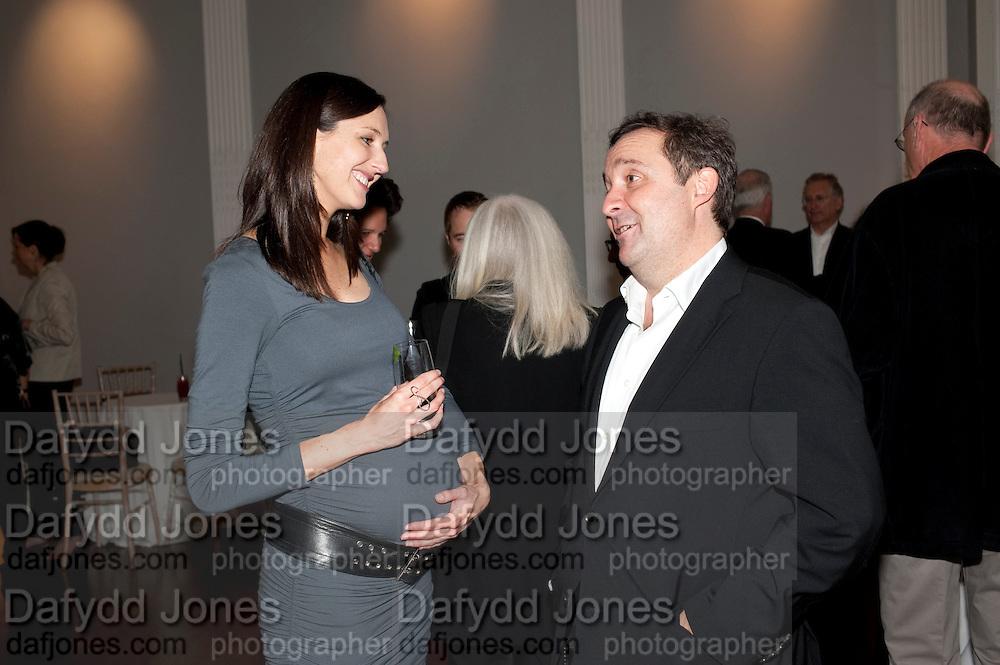 NINA MIALL; GREGOR MUIR, MCA- Sydney cocktails. Brandon rooms. ICA. London. 11 October 2011. <br /> <br />  , -DO NOT ARCHIVE-© Copyright Photograph by Dafydd Jones. 248 Clapham Rd. London SW9 0PZ. Tel 0207 820 0771. www.dafjones.com.